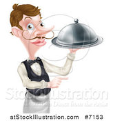 Vector Illustration of a Cartoon White Male Waiter with a Curling Mustache, Pointing and Holding a Cloche Platter by AtStockIllustration
