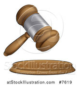 Vector Illustration of a Cartoon Wooden and Silver Judge or Auction Gavel by AtStockIllustration