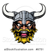 Vector Illustration of a Cartoon Yelling Blond Male Viking Warrior Face by AtStockIllustration