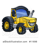 Vector Illustration of a Cartoon Yellow Tractor by AtStockIllustration