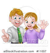 Vector Illustration of a Cartoon Young Caucasian Couple Waving and Giving a Thumb up by AtStockIllustration