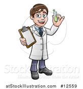 Vector Illustration of a Cartoon Young Male Scientist Holding a Clipboard and Test Tube by AtStockIllustration