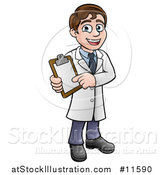 Vector Illustration of a Cartoon Young Male Scientist Holding a Clipboard by AtStockIllustration