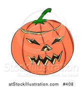 Vector Illustration of a Carved Halloween Jack O Lantern Pumpkin by AtStockIllustration