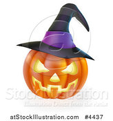 Vector Illustration of a Carved Halloween Jackolantern Pumpkin with a Purple Witch Hat by AtStockIllustration
