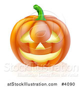 Vector Illustration of a Carved Halloween Jackolantern Pumpkin with a Smile by AtStockIllustration