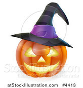 Vector Illustration of a Carved Halloween Jackolantern Pumpkin with a Witch Hat by AtStockIllustration