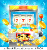 Vector Illustration of a Casino Slot Machine Jackpot Spitting out Coins over a Blue Star Burst by AtStockIllustration