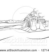 Vector Illustration of a Castle Landscape at Sunrise - Black Outline by AtStockIllustration