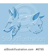 Vector Illustration of a Cat and Dog Faces in Profile over Blue by AtStockIllustration