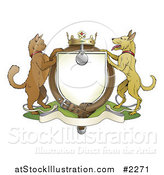 Vector Illustration of a Cat and Dog Pets Coat of Arms with a Collar by AtStockIllustration