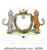 Vector Illustration of a Cat Coat of Arms Shield by AtStockIllustration