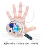 Vector Illustration of a Caucasian Antibacterial Hand with Germs, a Shield and Magnifying Glass by AtStockIllustration