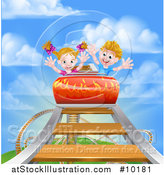 Vector Illustration of a Caucasian Boy and Girl on a Roller Coaster Ride, Against a Blue Sky with Clouds by AtStockIllustration