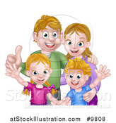 Vector Illustration of a Caucasian Brother and Sister Waving with Their Mom and Dad by AtStockIllustration