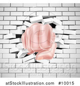 Vector Illustration of a Caucasian Fist Punching Through a 3d White Brick Wall by AtStockIllustration