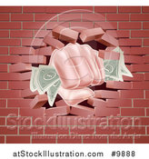Vector Illustration of a Caucasian Hand Fisted and Holding Cash Money, Breaking Through a Red Brick Wall by AtStockIllustration