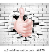Vector Illustration of a Caucasian Hand Giving a Thumb up and Breaking Through a 3d White Brick Wall by AtStockIllustration