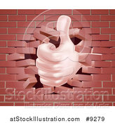 Vector Illustration of a Caucasian Hand Giving a Thumb up and Breaking Through a Brick Wall by AtStockIllustration