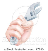 Vector Illustration of a Caucasian Hand Gripping a Spanner Wrench by AtStockIllustration