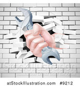Vector Illustration of a Caucasian Hand Gripping a Wrench and Breaking Through a White Brick Wall by AtStockIllustration