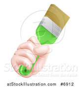 Vector Illustration of a Caucasian Hand Holding a Lime Green Paint Brush by AtStockIllustration
