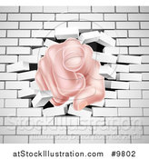 Vector Illustration of a Caucasian Hand Pointing Outwards, Breaking Through a White Brick Wall by AtStockIllustration