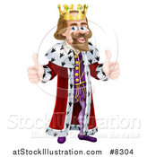 Vector Illustration of a Caucasian King Giving Two Thumbs up by AtStockIllustration