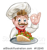 Vector Illustration of a Caucasian Male Chef Holding a Kebab Sandwich on a Tray and Gesturing Okay by AtStockIllustration