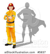 Vector Illustration of a Caucasian Male Fireman with Folded Arms and a Super Hero Shadow by AtStockIllustration