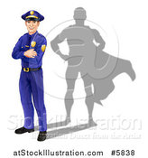 Vector Illustration of a Caucasian Male Police Officer with Folded Arms and a Super Hero Shadow by AtStockIllustration