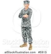 Vector Illustration of a Caucasian Male Soldier in Camouflage, Standing with Folded Arms by AtStockIllustration