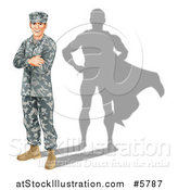 Vector Illustration of a Caucasian Male Soldier with Folded Arms and a Super Hero Shadow by AtStockIllustration