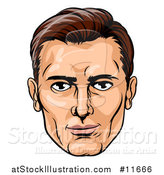 Vector Illustration of a Caucasian Mans Face in Comic Pop Art Style by AtStockIllustration