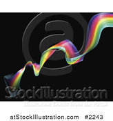Vector Illustration of a Cell Phone with Rainbow Waves by AtStockIllustration