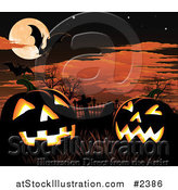 Vector Illustration of a Cemetery Under a Full Moon with Jackolanterns and Bats by AtStockIllustration