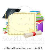 Vector Illustration of a Certificate Degree with a Diploma Books and Graduation Cap by AtStockIllustration
