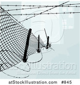 Vector Illustration of a Chainlink Fence with Barbed Wire Along the Top and Bottom to Keep Intruders in or out by AtStockIllustration