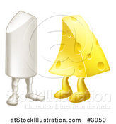 Vector Illustration of a Chalk and Cheese Mascots Attracted to Each Other by AtStockIllustration