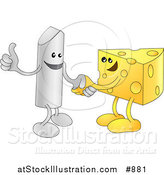 Vector Illustration of a Chalk Character Giving the Thumbs up and Shaking Hands with a Wedge of Swiss Cheese While Agreeing on a Business Deal by AtStockIllustration