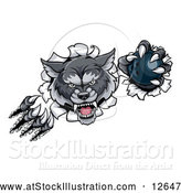 Vector Illustration of a Challenging Gray Wolf Bowling Mascot Slashing Through a Wall with Ball by AtStockIllustration