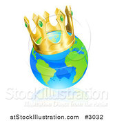Vector Illustration of a Champion Globe Wearing a Kings Crown by AtStockIllustration