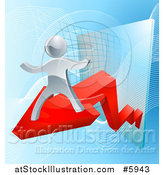 Vector Illustration of a Chart with a 3d Silver Man on a Red Arrow by AtStockIllustration