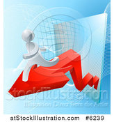 Vector Illustration of a Chart with a Red Arrow and 3d Running Silver Man by AtStockIllustration