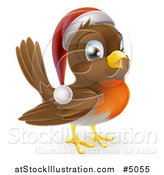 Vector Illustration of a Cheerful Christmas Robin in a Santa Hat by AtStockIllustration