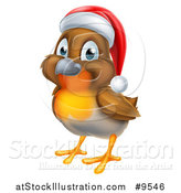 Vector Illustration of a Cheerful Christmas Robin in a Santa Hat, Facing Left by AtStockIllustration