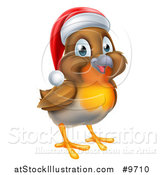 Vector Illustration of a Cheerful Christmas Robin in a Santa Hat, Facing Right by AtStockIllustration