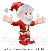 Vector Illustration of a Cheerful Santa Holding Both Hands up by AtStockIllustration