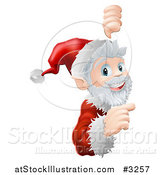Vector Illustration of a Cheerful Santa Looking Around and Pointing to a Sign by AtStockIllustration