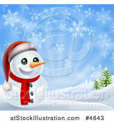 Vector Illustration of a Cheerful Snowman in a Hilly Landscape with Snowflakes by AtStockIllustration
